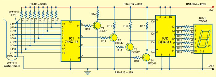 Circuit Diagram  Numeric Water Level Indicator