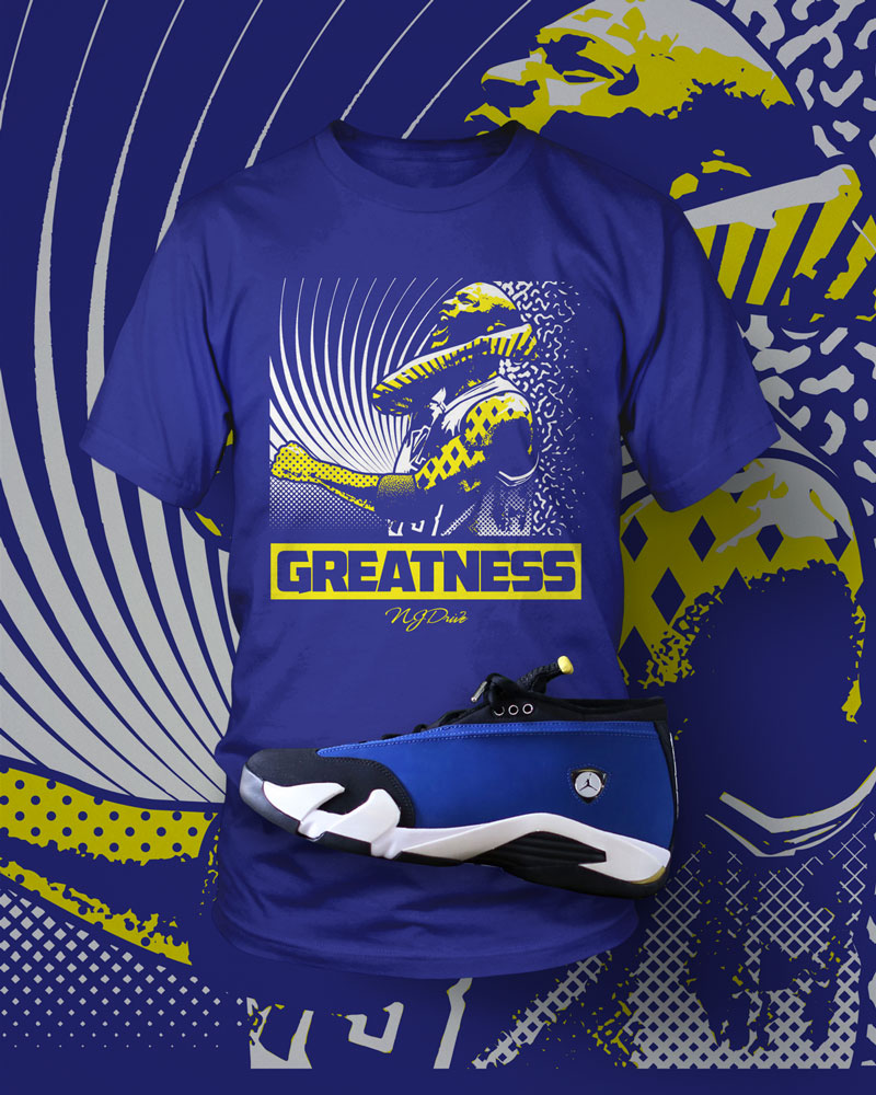 38ed04ad2fc13b Click the link ---  http   www.njdriveclothing.com collections t-shirts  products jordan-14-laney-low-greatness-shirt