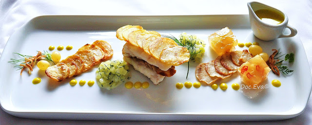 Lengfisch, Spreewälder Schmorgurken,Traubensülze,