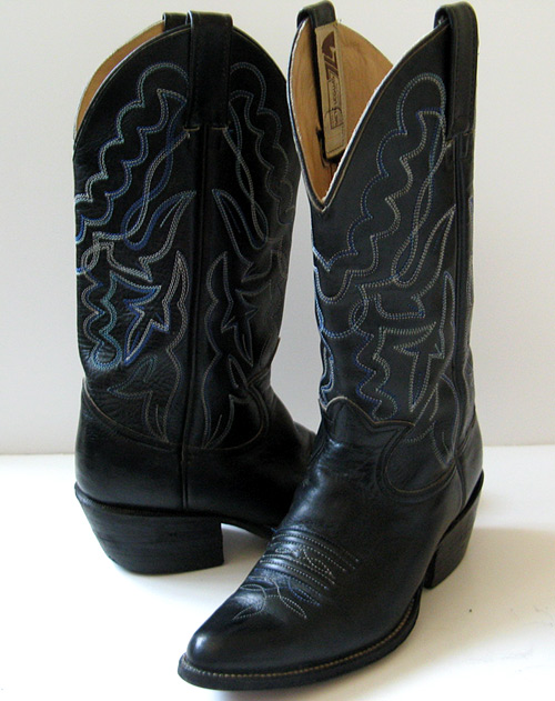 Black Leather Cowboy Boots Mexican 7 Frye Boots Size 7 5