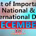 DECEMBER - List of Important National and International Commemorative Days (December Month)
