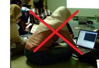 Cara yang sehat  menggunakan laptop