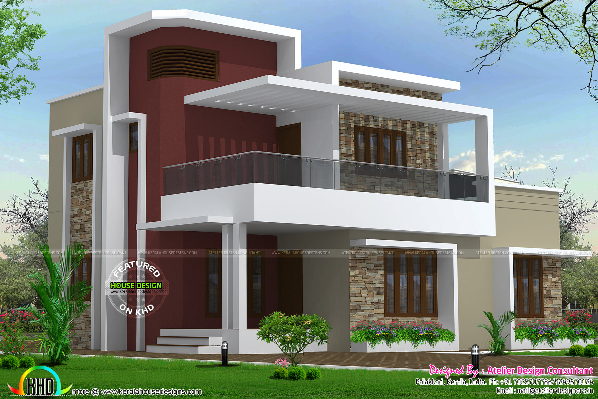 2200 square foot 4 bhk home kerala home design and floor for Square house design