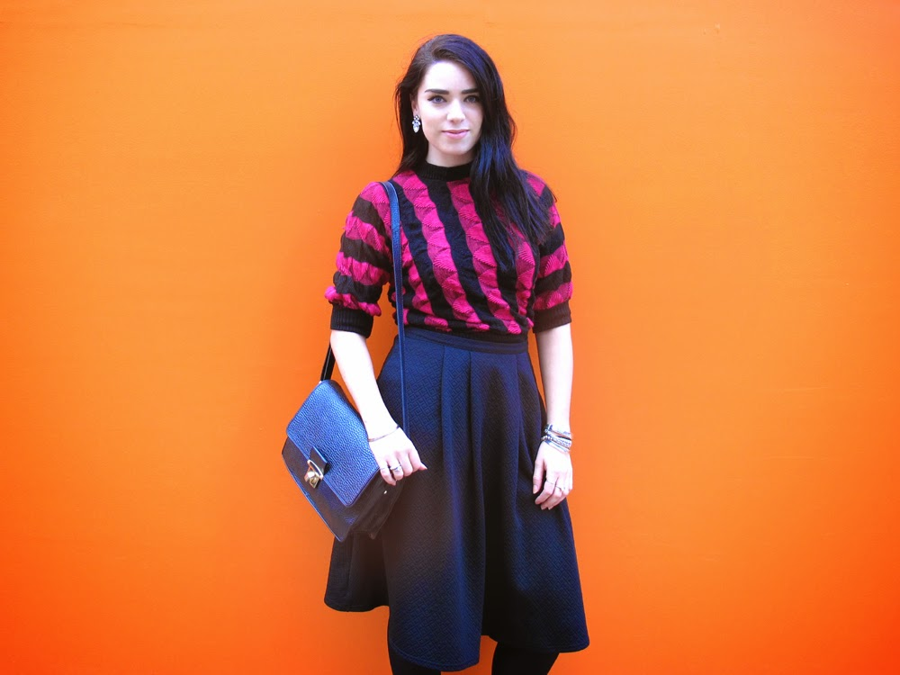 Vintage pink stripe jumper and black midi skirt