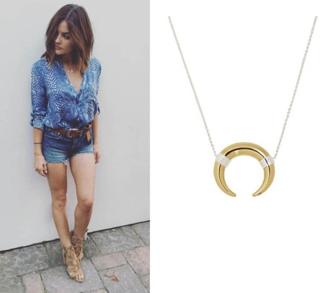 Pretty Little Liars Actress Lucy Hale in Stella & Dot Luna Pendant Necklace