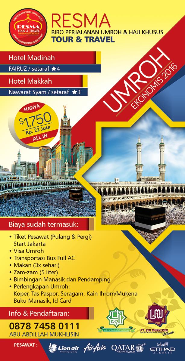 """Contoh Desain Brosur Haji dan Umroh """"PT. Bin Mukhlisin ..."""