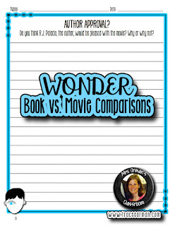 Wonder book and movie digital and editable activities  www.traceeorman.com