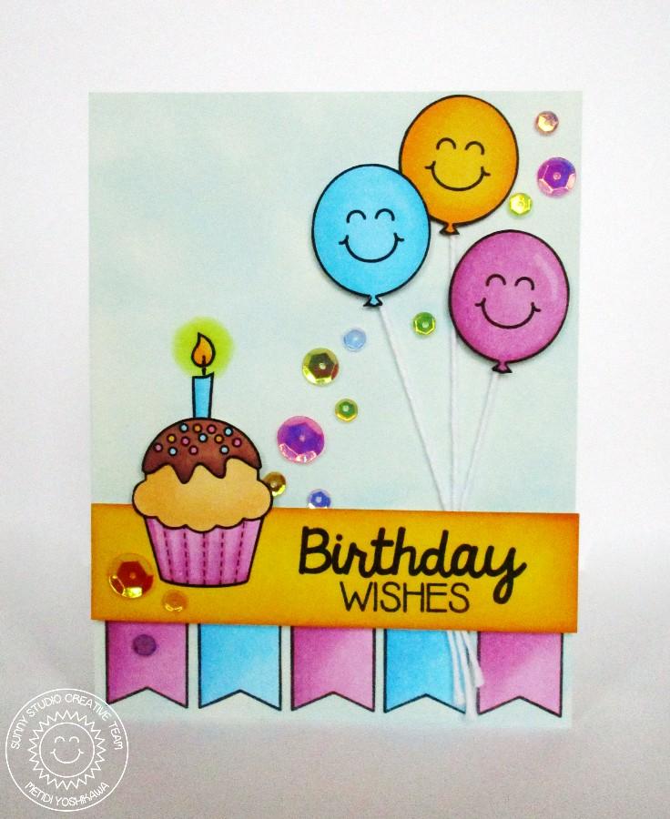 Sunny Studio Birthday Smiles Girly Birthday Card Ideas