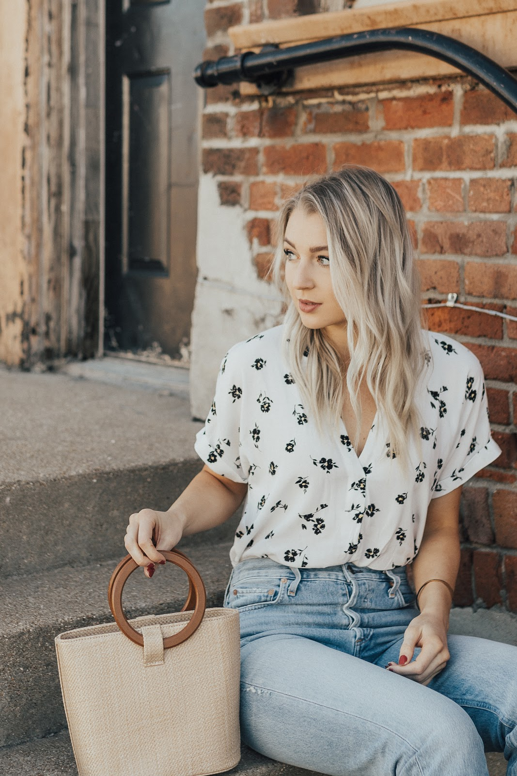 simple floral top + a straw bag | Love, Lenore