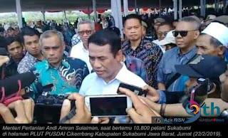 Kementerian Pertanian (Kementan) memberikan apresiasi kepada para petani di Kabupaten Sukabumi, Jawa Barat, atas prestasinya dalam mencapai kinerja ketahanan pangan serta mendukung Pemerintah mewujudkan Lumbung Pangan Dunia 2024.