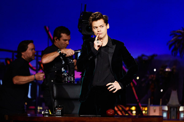 Harry Styles makes an appearance on 'The Late Late Show With James Corden' on May 16, 2017 (Image Courtesy of CBS)