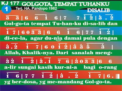Lirik dan Not Kidung Jemaat 177 Golgota, Tempat Tuhanku Disalib
