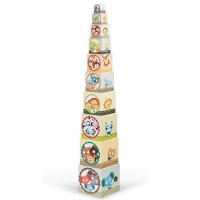 Une pyramide de cube avec illustration famille d'animaux