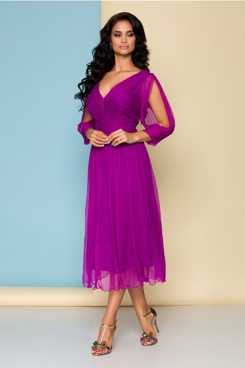 Rochie lunga de lux din matase violet cu maneci decupate