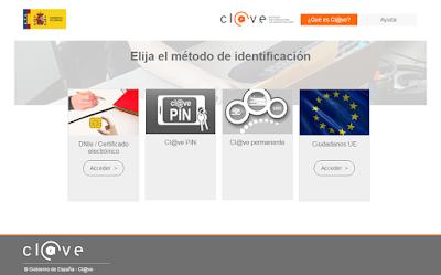 Modos de identificación para acceder a la sede electrónica del Ministerio de Justica.