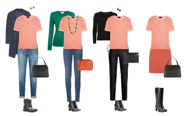 Комплекты капсульного гардероба с розовым топом