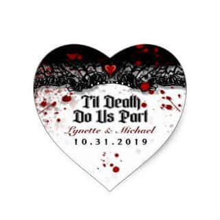 Til Death Blood Splatter Halloween Heart Wedding Heart Sticker