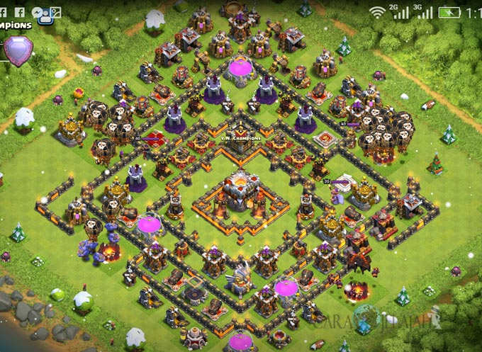 Base Trophy TH 11 COC Update Bomb Tower Terbaru 2017 Tipe 2