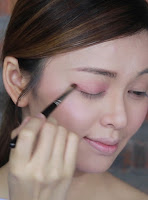 Next apply cobbler color on my outer and lower corner of the eyes.