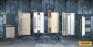 Dekory kamienne w drzwiach aluminiowych DAKO oraz nowe modele Drzwi