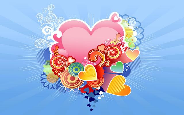 Liefdes hartjes en een blauwe achtergrond