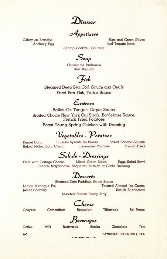 Princess Cruises dinner menu 1965