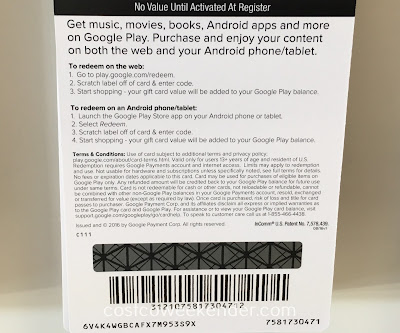 Costco 121 - Purchase content and enjoy immediately with the Google Play $50 Gift Card