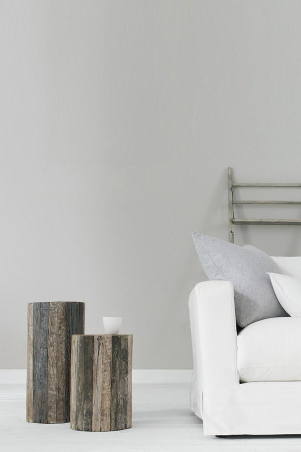 Above Image French Connection Homeware Driftwood Side Tables Pure White Sofa And Palest Grey Soft Furnishings Suggested Wall Paint Pale
