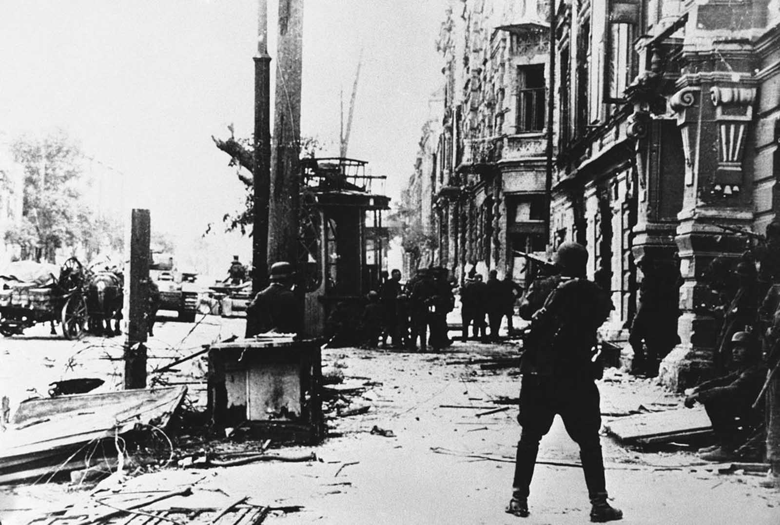 Evidence of the bitter street fighting which took place during the occupation of Rostov, Russia by German forces in August of 1942.