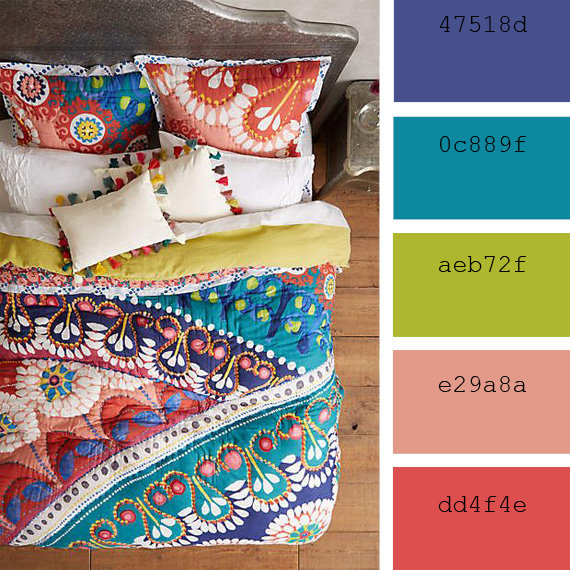 inspiration, bright and boho colors combinations