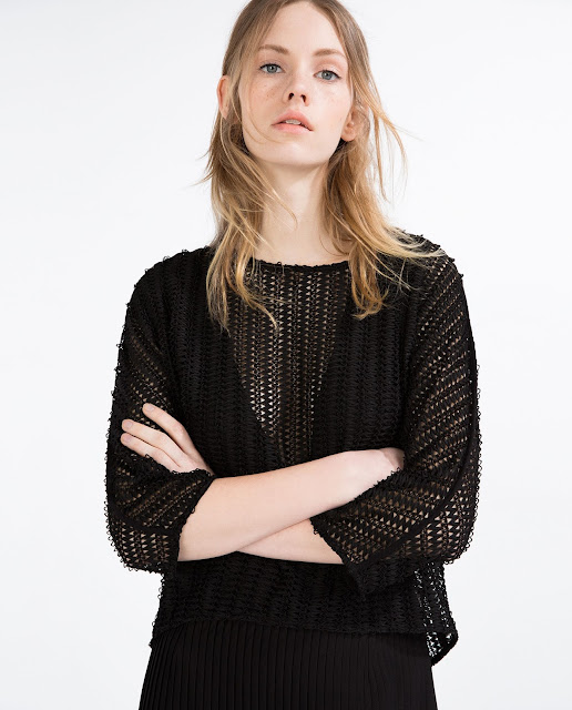 zara black mesh top,