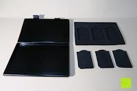Einlage komplett: Premium Schützendes Gehäuse für Aluminium Speicherkarte Tragetasche mit anpassbarem Innerem von CamKix - Organisieren und schützen Sie Ihre SD-Karten, Micro SD-Karten, Memory Stick und Compact Flash (CF) Speicherkarten (Kompatibel mit allen Speicherkarten Marken wie Sandisk, Transcent, Kingston, Sony, Lexar usw.) enthält den Speicherkarten Gehäusehalter / 4 Benutzerdefinierte EVA Einsätze / Klebesticker - Ideal für Reisen oder Aufbewahrung zuhause
