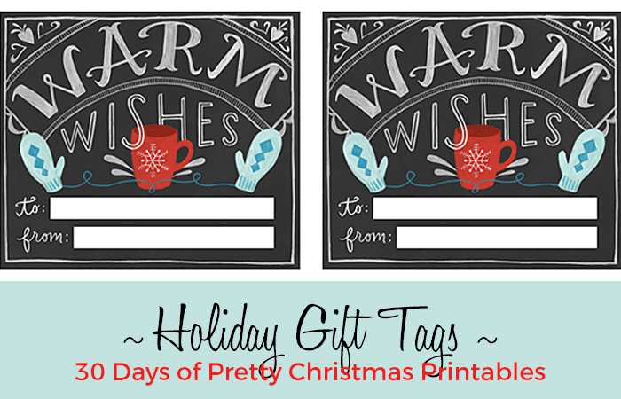 Chalkboard Style Holiday tags: 30 Days of Pretty Christmas Printables