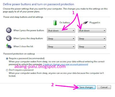 tombol power laptop  menjadi tombol shutdown