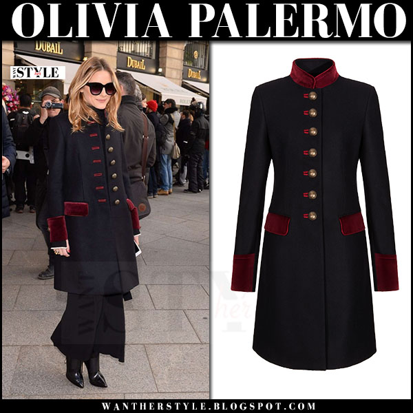 Olivia Palermo in military coat with red velvet details fay what she wore front row paris
