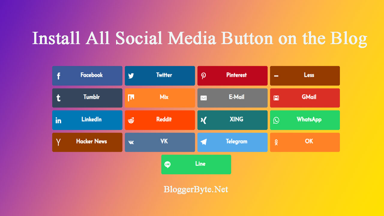 How to Install the All Social Media Share Button on the Blog