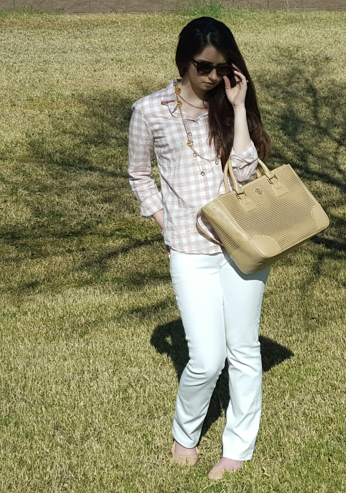 gingham and gold with white jeans for Spring
