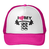 Style Athletics Cute Workout Clothes Activewear PostWODle Zazzle Store CrossFit Girl Barbell I Heart My Six Packs and Racks Boobs Weightlifting Cans Abs Muscles Pink Hat