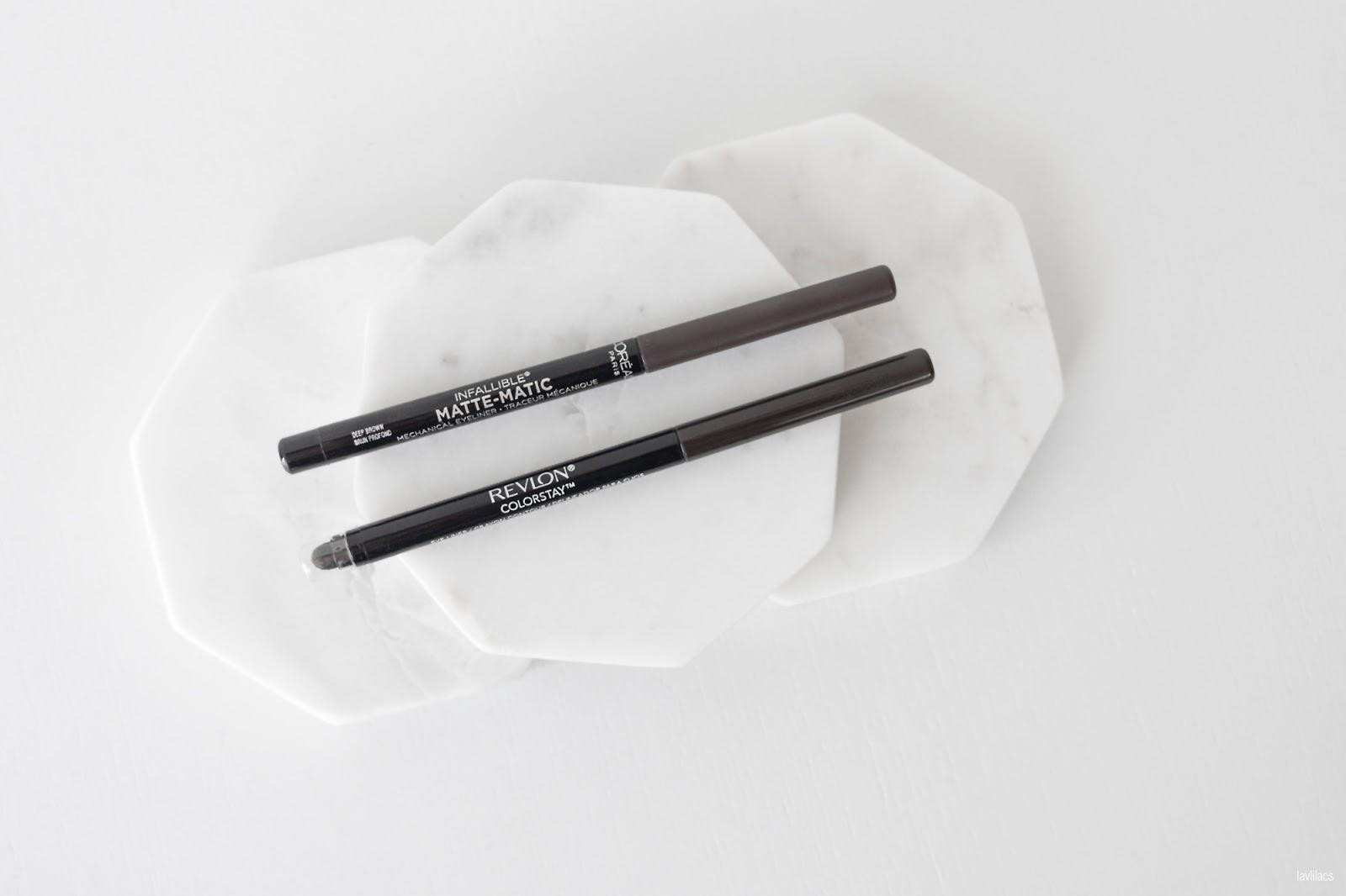 lavlilacs Retractable Eyeliner Comparison Review - L'Oreal Matte-Matic versus Revlon Colorstay