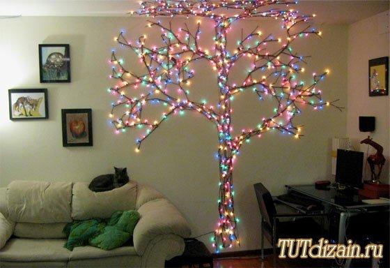Como hacer arboles con clavos e hilos arbol de navidad for Arbol de navidad mural