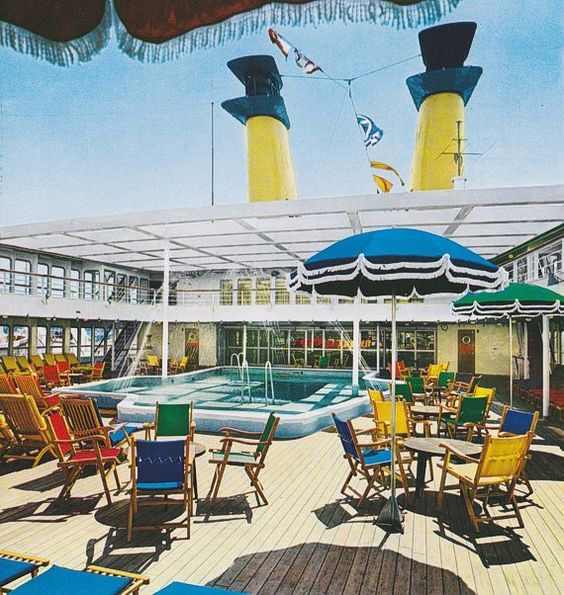 Eugenio C. Tourist Class A pool, looking aft into the wake line
