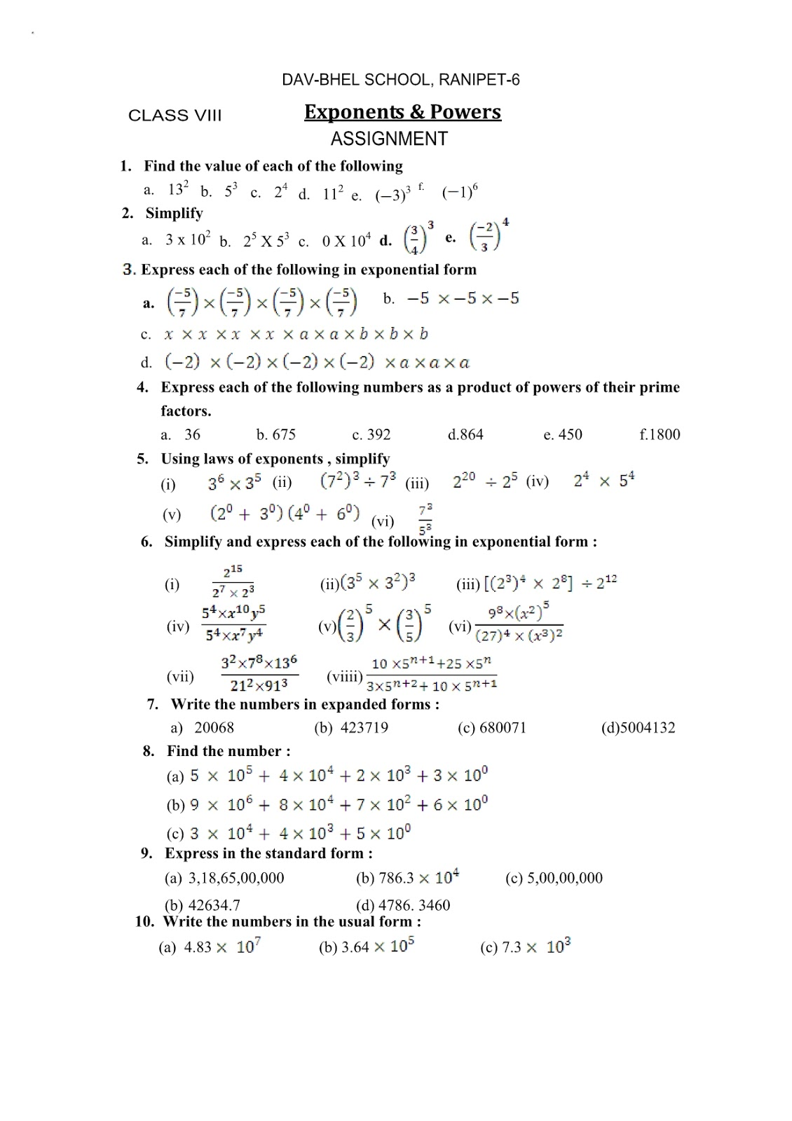 Cbse Math 8th Exponents Amp Powers Worksheet