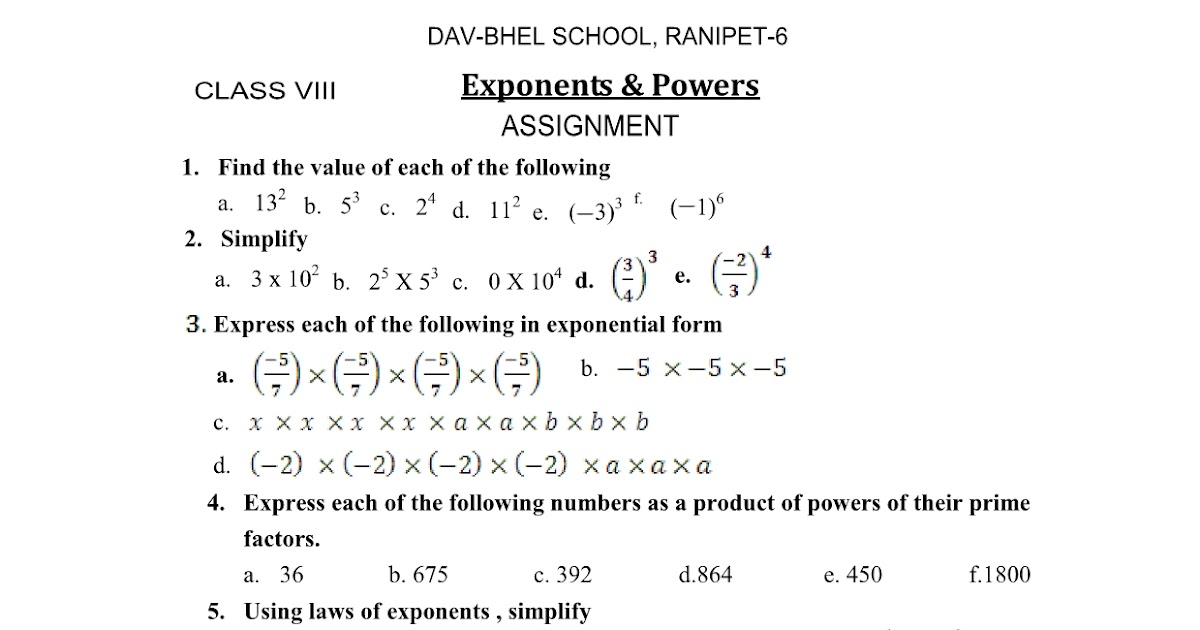Cbse Math 8th Exponents Powers Worksheet