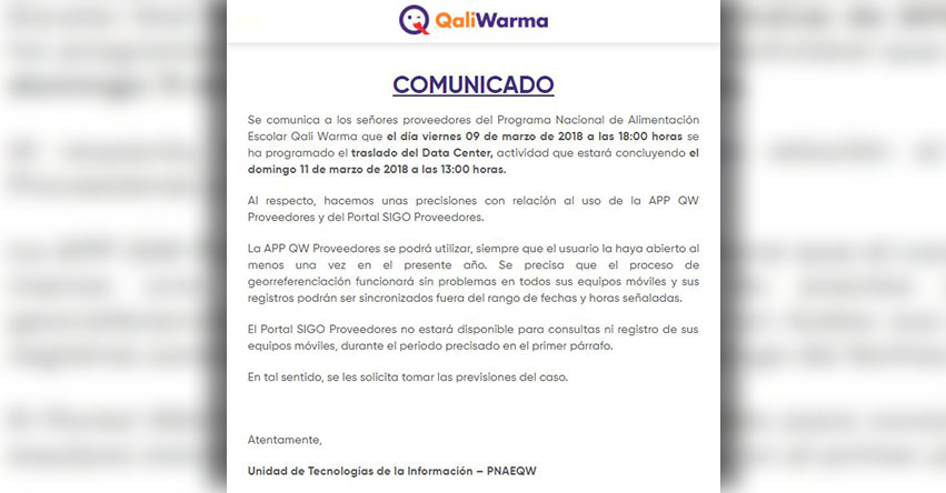 COMUNICADO QALI WARMA: Traslado del Data Center 2018 - www.qaliwarma.gob.pe