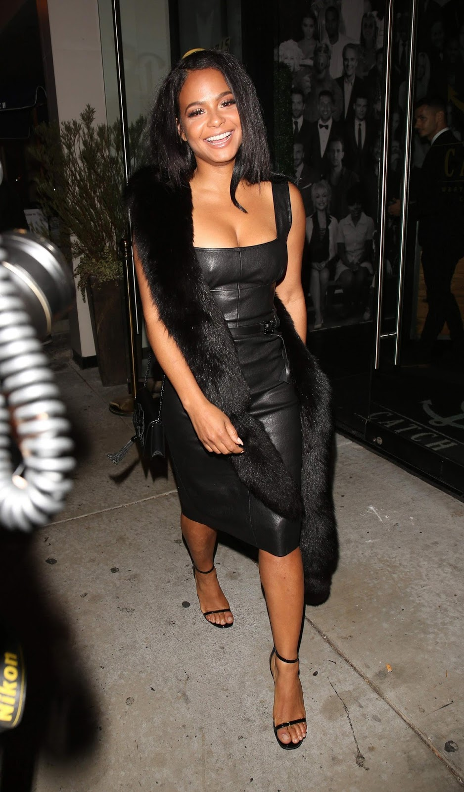 Lovely Ladies in Leather: Christina Milian in a leather dress Christina Milian