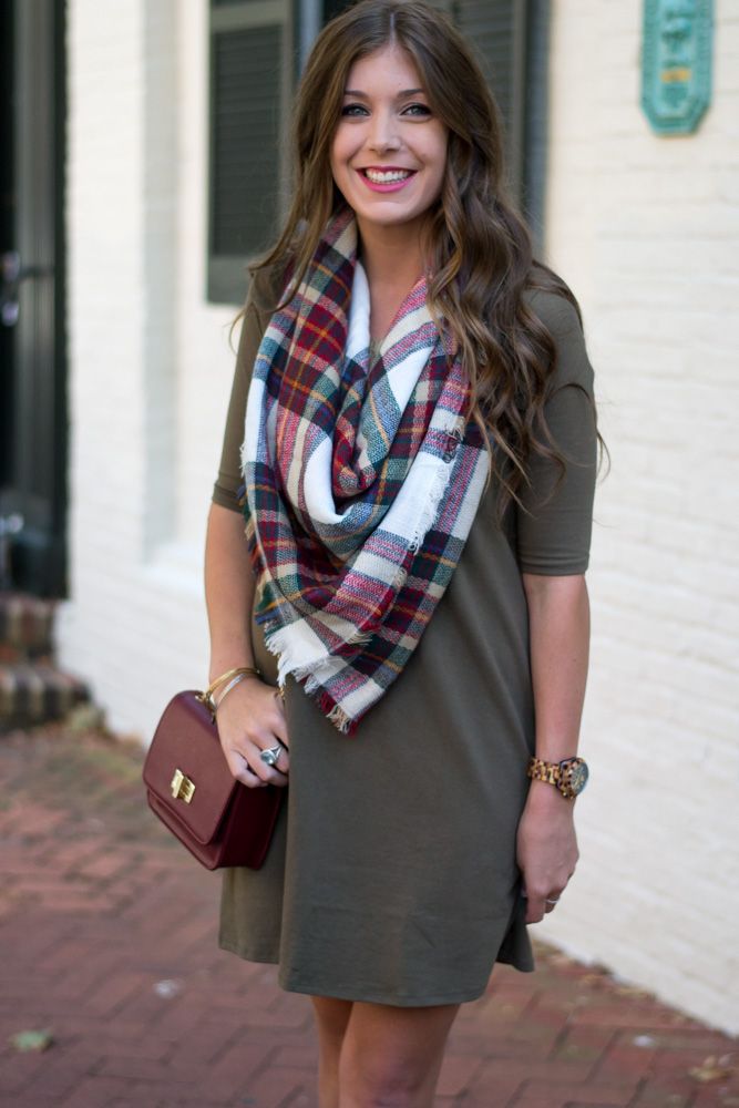 Easy outfit to re-create this fall with blanket scarf