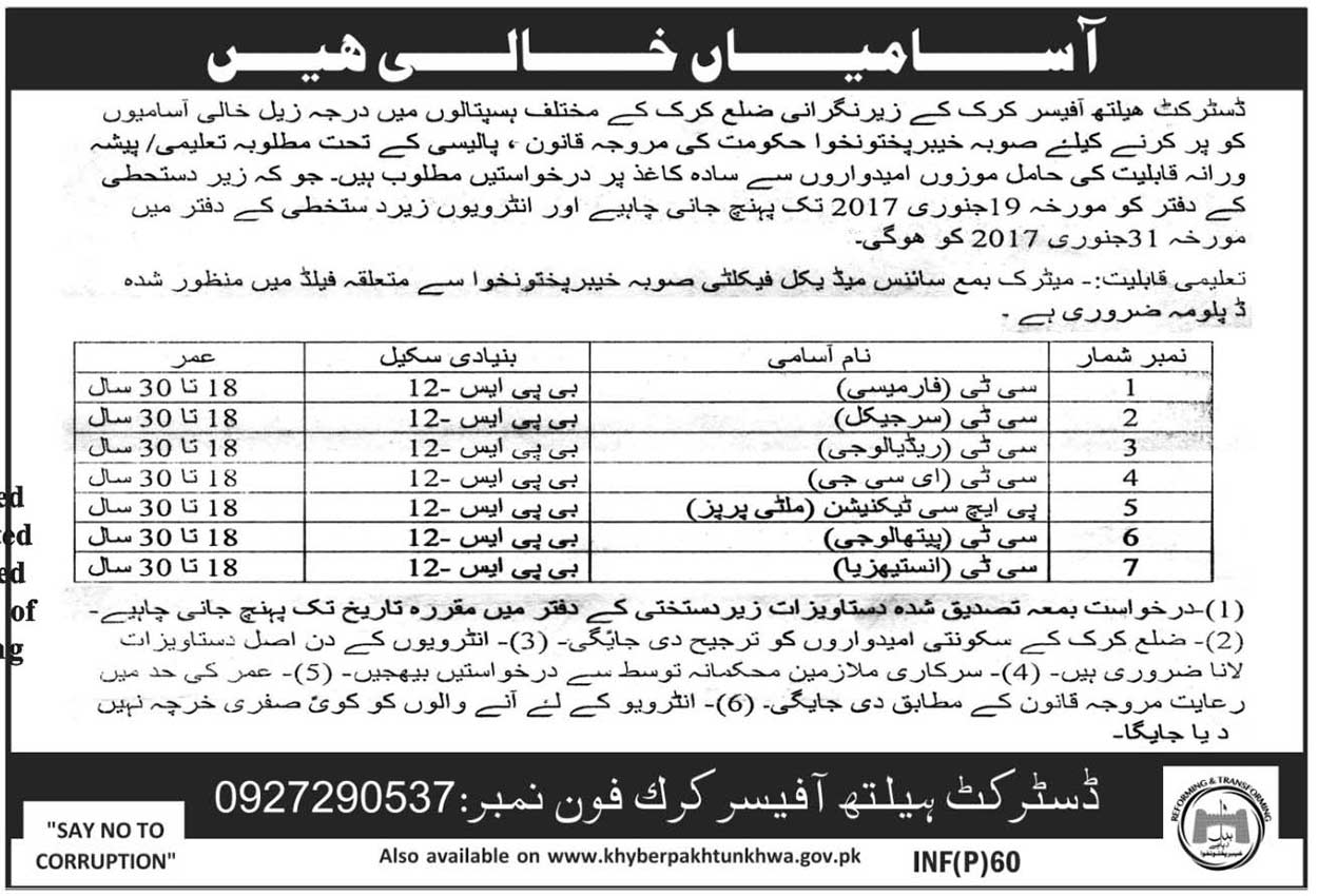 Hospital Jobs in Health Department Khyber Pakhtunkhwa jobs