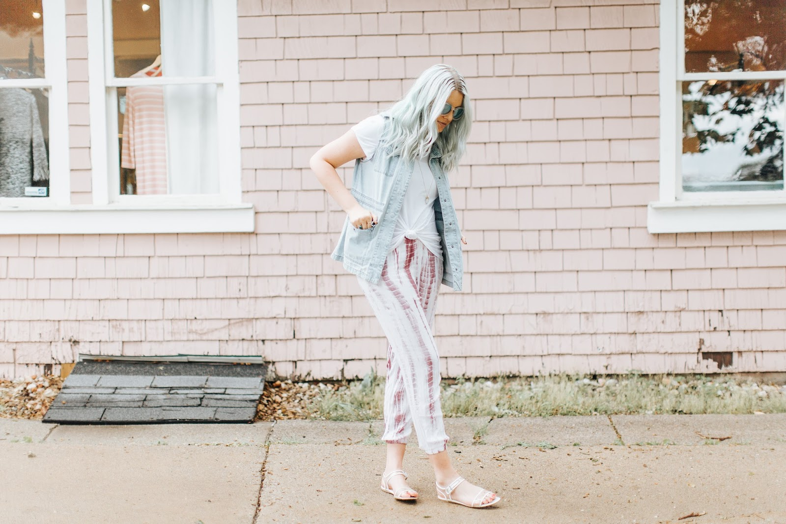 Modest Outfit, Tie Dye Pants, Mint Hair