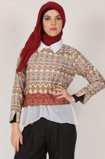 Contoh model baju atasan muslim kerja