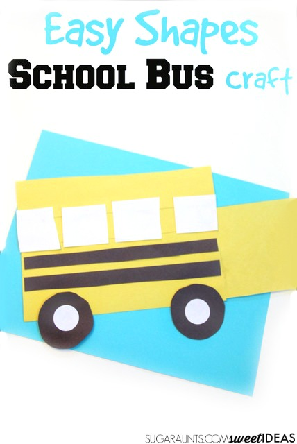 Kids will love to make this school bus craft as a back to school craft that helps kids learn shapes.